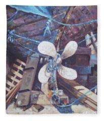 Old Boat Propeller Fleece Blanket