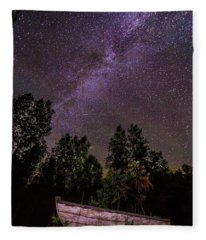 Old Boat Under The Stars Fleece Blanket
