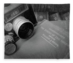 Old Books And Cameras Fleece Blanket