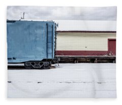 Old Box Car At A Freight Station Fleece Blanket