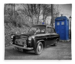 Old British Police Car And Tardis Fleece Blanket