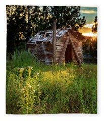 Old Cabin At Sunset Fleece Blanket