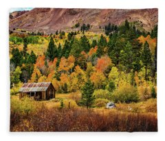 Old Cabin In Hope Valley Fleece Blanket