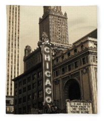 Old Chicago Theater - Vintage Art Fleece Blanket