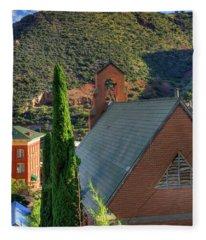 Old Church In Bisbee Fleece Blanket