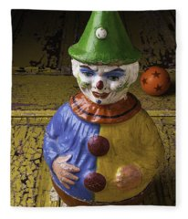 Old Clown And Ball Fleece Blanket