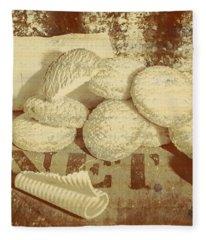 Old Cookie Tin Sign Art Fleece Blanket