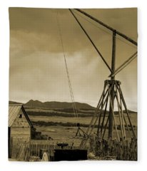 Old Crane And Shed Utah Countryside In Sepia Fleece Blanket