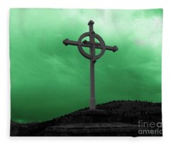 Old Cross - Green Sky Fleece Blanket