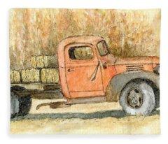 Old Dodge Truck In Autumn Fleece Blanket