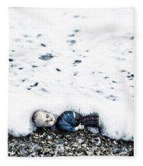 Old Doll On The Beach Fleece Blanket