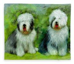 Old English Sheepdog Fleece Blanket