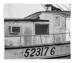 Old Fishing Boat  Fleece Blanket