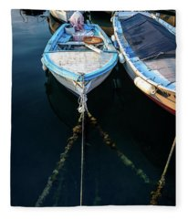 Old Fishing Boats Of The Adriatic Fleece Blanket