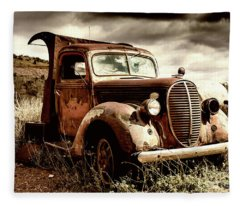 Old Ford Truck In Desert Fleece Blanket