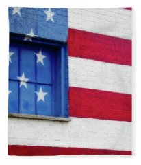 Old Glory, American Flag Mural, Street Art Fleece Blanket