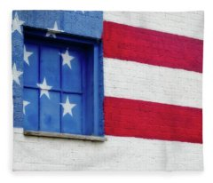 Old Glory, American Flag Mural, Street Art Fleece Blanket