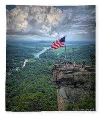 Old Glory On The Rock Fleece Blanket