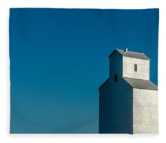 Old Grain Elevator Against Steel Blue Sky Fleece Blanket