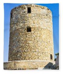 Old Greek Windmill Fleece Blanket