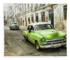Old Green Car Fleece Blanket