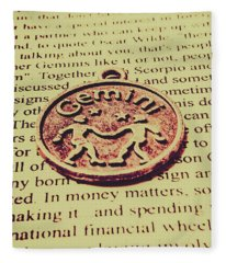 Old Horoscope Of Gemini Fleece Blanket