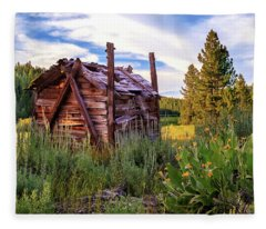 Old Lumber Mill Cabin Fleece Blanket
