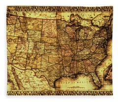Old Map United States Fleece Blanket