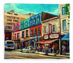 Old Montreal Schwartzs Deli Plateau Montreal City Scenes Fleece Blanket