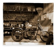 Old Motorcycle Shop Fleece Blanket