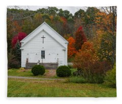 Old New England Church Fleece Blanket