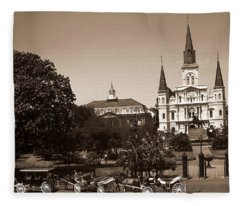 Old New Orleans Photo - Saint Louis Cathedral Fleece Blanket