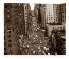 Old New York Photo - 10th Avenue Traffic Fleece Blanket
