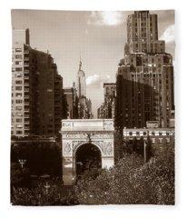 Washington Arch And New York University Fleece Blanket
