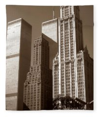 Old New York Photo - Woolworth Building And World Trade Center Fleece Blanket