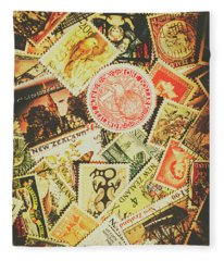 Old New Zealand Stamps Fleece Blanket