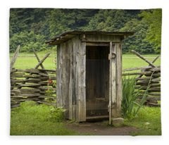 Old Outhouse On A Farm In The Smokey Mountains Fleece Blanket