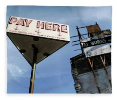 Old Pay Here Parking Sign Vintage Decay Fleece Blanket