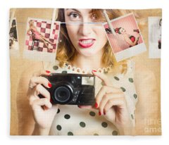 Old Photo Collection Pin-up Fleece Blanket