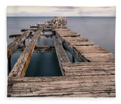 Old Pier In Punta Arenas Fleece Blanket