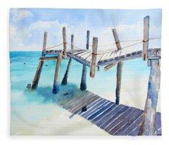 Old Pier On Playa Paraiso Fleece Blanket