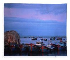 Old Port Of Nha Trang In Vietnam Fleece Blanket