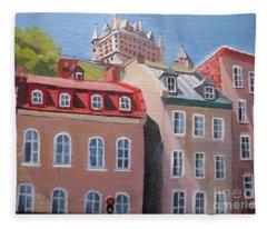 Old Quebec City Fleece Blanket