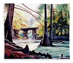Old Railroad Bridge Fleece Blanket