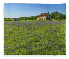 Old Ranch On Us 281 Marble Falls Hdr Panorama 2017 Fleece Blanket