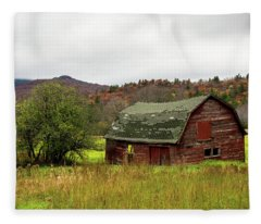 Old Red Adirondack Barn Fleece Blanket