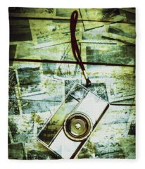 Old Retro Film Camera In Creative Composition Fleece Blanket