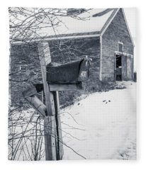 Old Rural Mailbox In Front Of An Old Barn Fleece Blanket