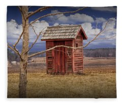 Old Rustic Wooden Outhouse In West Michigan Fleece Blanket