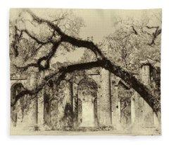 Old Sheldon Church Ruins Bw Fleece Blanket